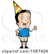 Clipart Boy Wearing A Party Hat And Holding Juice Royalty Free Vector Illustration