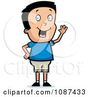 Clipart Friendly Boy Waving Hello Royalty Free Vector Illustration by Cory Thoman