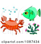 Crab Coral And Fish With Bubbles