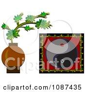 Clipart Asian Bonsai Plant And Yin Yang Royalty Free Vector Illustration by bpearth