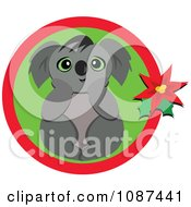 Christmas Koala In A Circle With Poinsettia