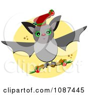 Christmas Bat Flying With A Branch
