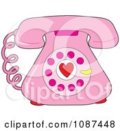 Clipart Pink Rotary Telephone With A Heart Royalty Free Vector Illustration