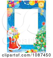 Clipart Snowy Christmas Tree Frame And Santa Carrying Gifts Royalty Free Illustration