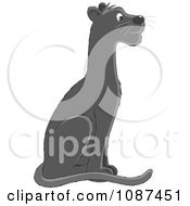 Clipart Seated Black Panther Royalty Free Vector Illustration