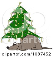 Clipart Dog Under A Christmas Tree Decorated With Bones Royalty Free Vector Illustration