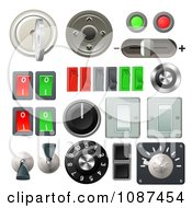 Clipart 3d Knob Switches And Dials With Buttons And Keys Royalty Free Vector Illustration by AtStockIllustration