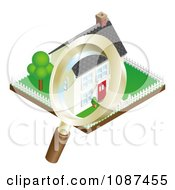 Clipart 3d Magnifying Glass Inspecting A Home And Property Royalty Free Vector Illustration by AtStockIllustration