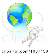 Clipart 3d Globe Attached To Silver Keys Royalty Free Vector Illustration by AtStockIllustration