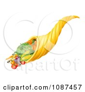 Clipart 3d Cornucopia Horn With Harvest Produce Royalty Free Vector Illustration by AtStockIllustration