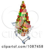 Clipart 3d Shopping Cart With A Pile Of Wrapped Christmas Presents Royalty Free Vector Illustration
