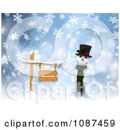 Clipart 3d Winter Snowman With A Wooden Sign In The Snow Royalty Free CGI Illustration