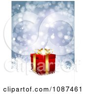 Clipart Blue Sparkly Christmas Background With A 3d Gold And Red Gift Box And Snowflakes Royalty Free Vector Illustration