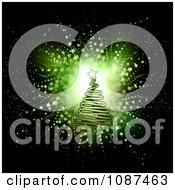 Clipart Green Scribble Christmas Tree Over A Star Burst On Black Royalty Free Vector Illustration