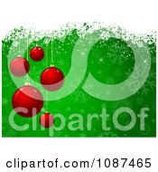 Clipart Red Christmas Baubles Over Green Snowflakes Royalty Free Vector Illustration