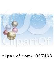 Clipart Blue Snowflake And 3d Pastel Ornament Christmas Background Royalty Free Vector Illustration