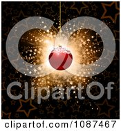 Clipart 3d Red Christmas Ornament Over A Starry Burst Background Royalty Free Vector Illustration