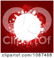 Clipart Red Background With A White Christmas Globe Royalty Free Vector Illustration by KJ Pargeter