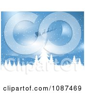 Clipart Santa And His Sleigh Flying Over A Blue Winter Landscape Royalty Free Vector Illustration