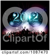 Clipart Silhouetted New Years Eve Party Crowd Under 2012 Royalty Free Vector Illustration