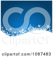 Clipart Blue Background With Snowflakes On A Hill Royalty Free Vector Illustration