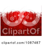 Clipart Red Snowflake Christmas Background With Snow And Ornaments Royalty Free Vector Illustration