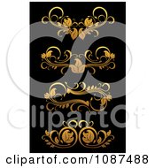 Clipart Ornate Golden Flourish Border Design Elements 2 Royalty Free Vector Illustration