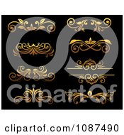 Clipart Ornate Golden Flourish Border Design Elements 1 Royalty Free Vector Illustration