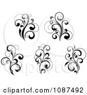 Black And White Flourish Motif Design Elements 1