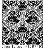 Clipart Seamless Black And White Floral Diamond Pattern Background 2 Royalty Free Vector Illustration by Vector Tradition SM