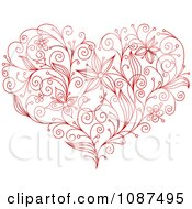 Clipart Sketched Red Floral Heart Royalty Free Vector Illustration