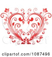 Clipart Red Floral Vine Heart Royalty Free Vector Illustration