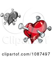 Clipart Grayscale And Red Hearts With Pins Royalty Free Vector Illustration