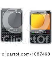 Clipart 3d Smart Cell Phones With Key Pads Royalty Free Vector Illustration