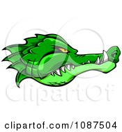 Clipart Tough Green Alligator Head Profile Royalty Free Vector Illustration
