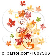 Clipart Autumn Leaf Swirl Royalty Free Vector Illustration