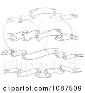 Clipart Black And White Sketched Ribbon Banners 2 Royalty Free Vector Illustration