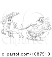 Outlined Santa And Flying Reindeer