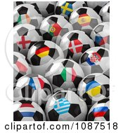 Clipart 3d Flag Soccer Balls Of The 2012 European Championship Royalty Free CGI Illustration by stockillustrations