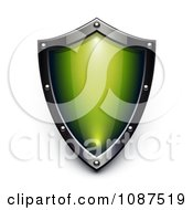 Clipart 3d Silver And Green Security Shield Royalty Free Vector Illustration by Oligo #COLLC1087519-0124