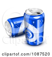 Clipart 3d Blue Sweating Soda Cans Royalty Free Vector Illustration by Oligo