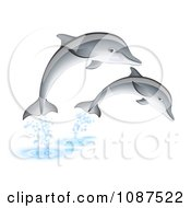 Clipart Two Dolphins Leaping Out Of Water Royalty Free Vector Illustration