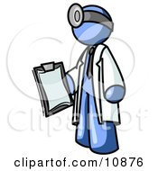 Blue Male Doctor Holding A Clipboard Clipart Illustration