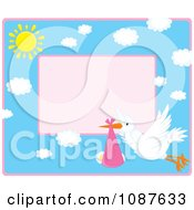 Clipart Cute Stork Flying A Baby Girl Invitation With Pink Copyspace Royalty Free Vector Illustration