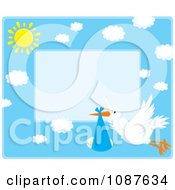 Clipart Cute Stork Flying A Baby Boy Invitation With Blue Copyspace Royalty Free Vector Illustration by Alex Bannykh