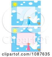Clipart Cute Stork Flying A Baby Boy And Girl Invitations Royalty Free Vector Illustration