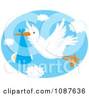 Cute White Stork Flying A Baby In A Blue Blanket