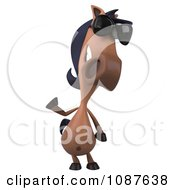 Clipart 3d Waving Charlie Horse Wearing Sunglasses Royalty Free CGI Illustration by Julos