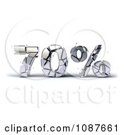 Clipart 3d Shattering Silver 70 Percent Discount Royalty Free CGI Illustration