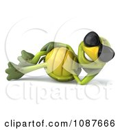 Clipart 3d Reclined Tortoise Wearing Shades Royalty Free CGI Illustration